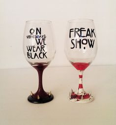 AHS wine glass set - on wednesday we wear black - FREAK SHOW