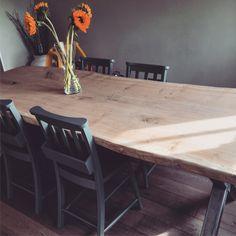 Oak slab table
