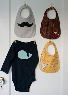 pattern for a simple infant bib and some fun boyish appliqué templates
