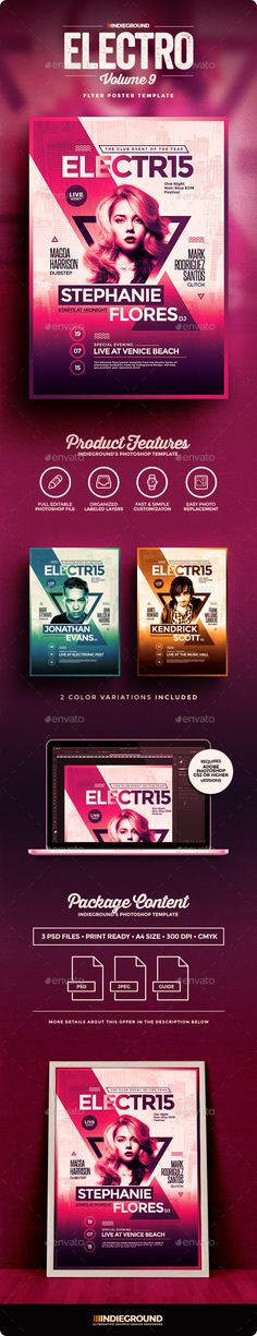 Buy Electro Flyer/Poster Vol. 9 by indieground on GraphicRiver. Electro Flyer/Poster Template – This flyer was designed to promote an Electro / EDM / Dance / Techn. E Design, Flyer Design, Graphic Design, Letterhead Template, Brochure Template, Cool Business Cards, Business Flyer, Dubstep, Banners