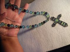 Colorful Cross Pendant  Necklace by Jazznitup on Etsy, $25.00