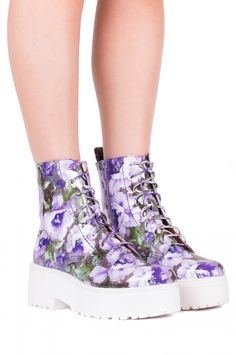 Jeffrey Campbell Shoes FINNICK New Arrivals in Purple Floral Patent Wht