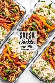 healthy food prep These easy Salsa Chicken Meal Prep Bowls are easy to customize to fit your diet or macros, and are the cost of a meal delivery service. Chicken Meal Prep, Salsa Chicken, Chicken Recipes, Chicken Ideas, Lunch Recipes, Cooking Recipes, Healthy Recipes, Recipes For Meal Prep, Meal Prep Dinner Ideas