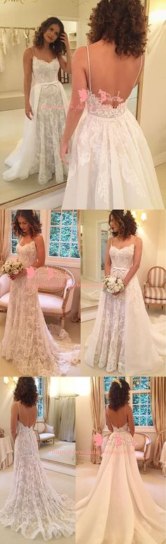 FASHION CONVERTIBLE SPAGHETTI STRAP DETACHABLE OVER LAYER GORGEOUS FULLY LACE WEDDING DRESSES,DB0120 #laceweddingdresses