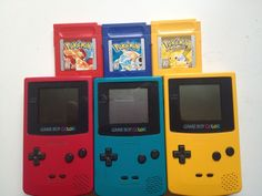 I remember my first gameboy color and Pokemon game. Secondary Color, Primary Colors, Nintendo, Back In The 90s, Pokemon Red, Color Games, 90s Childhood, Red Aesthetic, Blue Yellow