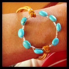 Leather bracelet with turquoise beading Turquoise Beads, Turquoise Bracelet, Jewerly, Beading, Jewelry Design, Jewelry Making, Bracelets, Leather, Jewlery