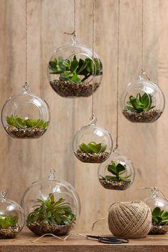 Idea di decorazione con piante per il bagno piccolo: terrarium in vasetti trasparenti sospesi, con piante grasse o sempreverdi. #design #arredo #arredobagno