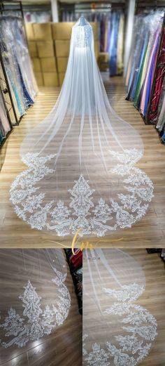 #laviamor specializes in customizing the bridal veils. Follow @laviamordesign for more ideas! ❤ #weddingphotography #luxurywedding #weddinggown #wedding #weddingdress #bridalgown #dreambride #weddinginspiration #weddingideas #wedding #bride #weddingveil #weddingveils #bridalveil #bridalveils #bridalfashion #bridalideas #bridestyle #weddingdresses #bridalideas #veilguide Lace Veils, Bridal Veils, Luxury Wedding, Wedding Bride, Chapel Length Veil, Cathedral Wedding Veils, Wedding Crafts, Bridal Style, Wedding Accessories