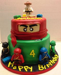 We have done 2 cakes previously in the Lego Ninjago theme which was based on the cover of a book that the birthday boy had for our 1st request.