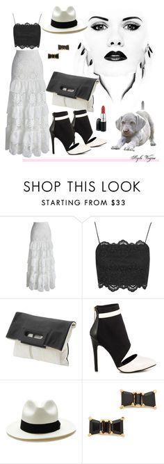 """Black and White Chic"" by lamipaz ❤ liked on Polyvore featuring Chicwish, Topshop, Foley + Corinna, Liliana, Sensi Studio, Kate Spade, MAC Cosmetics, moda, stylish and trend"
