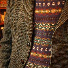 My friend Stuart from the UK wearing a superb Harris Tweed jacket + fair isle pattern sweater