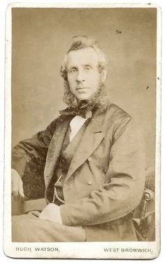 Carte de visite of a gentleman with large sideburns. Photograph taken by Hugh Watson, High Street, West Bromwich.