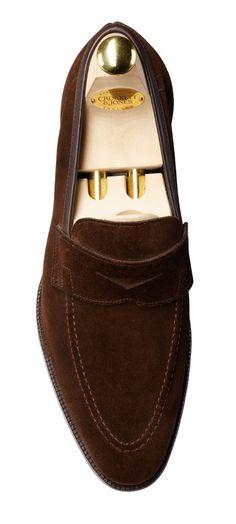 Teign Dark Brown Suede Men's Penny Loafer | Crockett & Jones
