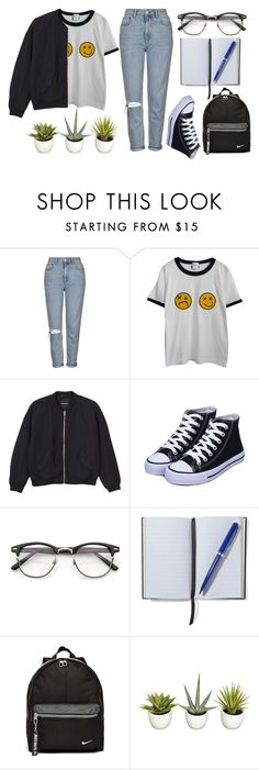 Everyday by arvpea on Polyvore featuring мода, Chicnova Fashion, Monki, Topshop, NIKE, Smythson and Improvements