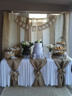 Used (normal wear), Dessert table backdrop with love is sweet sign. And table burlap pieces with 2 bows (can't find the bow). Used for bridal shower. Make an offer! Used (normal wear), Dessert table backdrop with Backdrops For Sale, Backdrops For Weddings, Rustic Wedding Decorations, Burlap Table Decorations, Bridal Shower Table Decorations, Table Centerpieces, First Communion Decorations, Wedding Ideas With Burlap, Wedding Shower Centerpieces