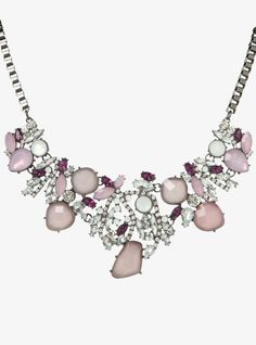 Lovely in lavender and plum-hued gemstones, this stunning statement necklace has a chic hematite box chain that leads to a cluster of pretty pendants.<b></b>For a matching pair of earrings, search SKU: 10233884