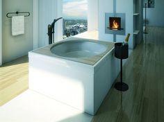 A fireplace in the bathroom. Corner Bathtub, Bathroom, Washroom, Corner Tub, Bath Room, Bathrooms, Downstairs Bathroom, Full Bath, Bath