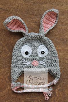 SALE 3-9 months hat rabbit pink gray beanie by LaCapitaineCrochete