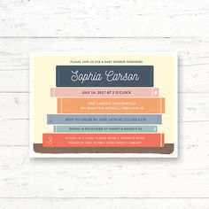 Library Book Theme Baby Shower Printable Invitation, Books, Bookshelf, Book Instead of a Card Custom Printable Invite by CrissyDesignCo Online Printing Companies, Printing Services, Baby Shower Printables, Baby Shower Themes, Shower Ideas, Baby Animal Games, Whats In Your Purse, Baby Bingo, Diaper Raffle Tickets