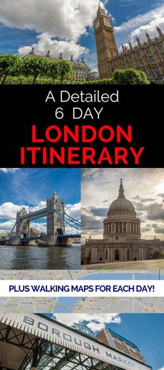 A detailed 6 day London itinerary that provides a suggested flexible itinerary for each day, daily walking maps, tips on how to save money, and loads of suggestions on how to make the most of your six days in London England.
