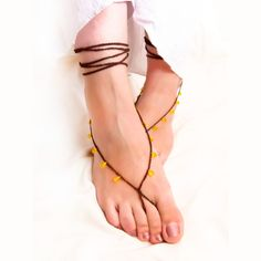 Chocolate lemon barefoot sandals Beaded crochet nude shoes, Gypsy fashion, sexy foot slave jewelry,  yoga, anklet , bellydance, foot thong. $15.00, via Etsy.