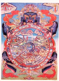 Vintage Wheel of Life Art Print of Tibetan Buddhist Thangka Scroll Painting, 22 x 30 inches-Free Domestic Shipping Tibetan Art, Tibetan Buddhism, Buddhist Art, Tibetan Mandala, Buddhist Wheel Of Life, Motif Oriental, Thangka Painting, Painting Art, Vajrayana Buddhism