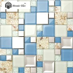 TST Glass Metal Conch Tile Blue & White Resin Steel Mosaic Bath Decor