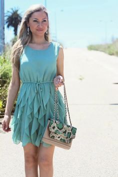 look do dia, ootd, look of the day, outfit, personal style, estilo pessoal, mint pleated dress, ruffles, sheinside, vestido verde menta, ves...