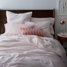 Belgian Linen Duvet Cover + Shams – Pink Champagne #westelm