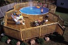 Building a deck around your pool can make it look more beautiful and give your family a place to sit and enjoy while at the pool. Don't let building a deck around your pool intimidate you. Pool Deck Plans, Deck Building Plans, Building A Pool, Swimming Pool Decks, My Pool, Pool Fun, Above Ground Pool Decks, In Ground Pools, Decks Around Pools