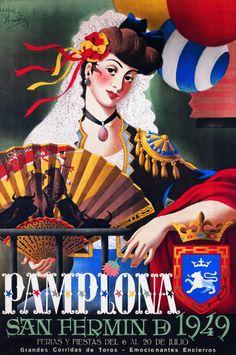 By Acha Y Ameiro, 1949, Pamplona San Fermin. (Sp)