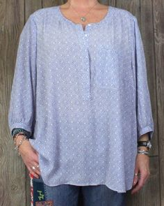 NYDJ 3x size Blouse Blue White Lightweight Plus Tunic Top Career Casual Womens