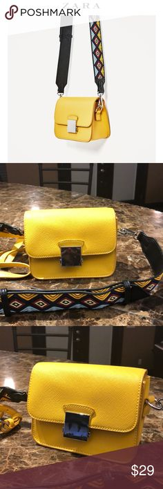 Zara Yellow Mini Crossbody Guitar Strap Bag. Zara Yellow Mini Crossbody Guitar Strap Bag. Clasp Doesn't Stay Closed, otherwise great condition. Zara Bags Crossbody Bags