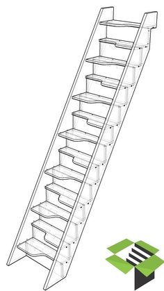 You may want to consider a SpaceSaver staircase. These go by a couple of other names, such as Loft Stairs, Padle Flights and Alternating Tread Staircases. Space Saving Staircase, Small Staircase, Loft Staircase, Timber Staircase, Metal Stairs, Staircase Makeover, Attic Stairs, Staircase Design, Garage Stairs