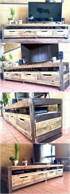 Most of the individuals think that the ready-made items available in the market make the home look amazing but it is a false concept because we always show you the furniture pieces made up of wooden pallets as a proof that are created with an innovative Wooden Pallet Furniture, Steel Furniture, Wooden Pallets, Unique Furniture, Wooden Diy, Rustic Furniture, Diy Furniture, Industrial Furniture, Pallet Tv
