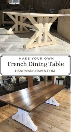 Build this Farmhouse Dining Table using step by step instructions. Build plans will help you create a dining table for your home kitchen. Farmhouse Dining Table Set, Farmhouse Dining Room Table, Dinning Room Tables, Dining Table In Kitchen, Farmhouse Furniture, Rustic Table, Wood Table, French Dining Tables, Rustic Kitchen Tables
