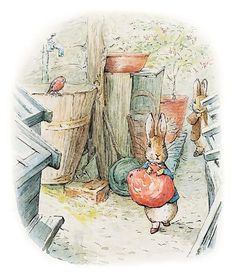 """Beatrix Potter's 'The Tale of Benjamin Bunny' (1904). """"Peter was a step or two in front of his cousin, when he suddenly stopped."""""""