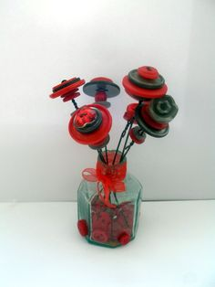 Vintage button bouquet, Vintage Button Bouquets and Button Crafts