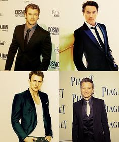 Thor, Iron Man, Captain America, and Hawkeye - Chris Hemsworth, Robert jr. Downey, Chris Evens and Jeremy Renner