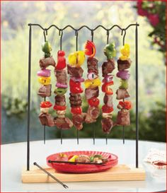 BBQ, Hang & Serve Kabob Rack is an impressive way to offer delicious shish kabobs to friends and family. Use the 6 skewers to grill your favorite combinatio Shish Kabobs, Skewers, Parrilladas Ideas, Small Restaurant Design, Buffet, Home Brewing Beer, Lakeside Collection, Weird Food, English Food