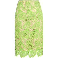 Nicole Miller Neon Lace Skirt found on Polyvore
