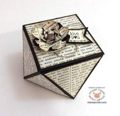 "Faceted Gift Box created by Stamp Crab. Love this! Followed an easy YouTube tutorial by PootlesPapercraft for this fab box! It's matted with Typeset Specialty DSP (133704). The flower pieces were lightly spritzed with water & then ""scrunched"" for a shabby look. Punches used: Pansy (130698), Petite Petals (133322), Itty Bitty Accents (133787). The sentiment is from the Banner Banter Stamp Set (Clear 134060, Wood 134057)."