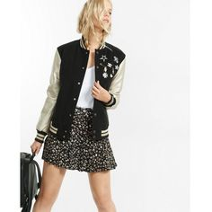 Express Pin Embellished Metallic Sleeve Varsity Jacket ($178) ❤ liked on Polyvore featuring outerwear, jackets, black, long sleeve jacket, metallic jacket, varsity style jacket, stand collar jacket and express jackets