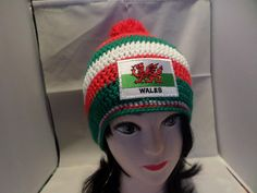 Your place to buy and sell all things handmade Crochet Beanie Hat, Beanie Hats, Crochet Hats, Welsh Dragon, Fabric Patch, Hand Crochet, Red Green, Flag, Craft Ideas