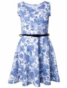 Delicate Floral Printed Belted Skater Dress. Wholesale Fashion ... 3d2db1bee