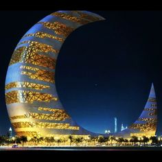 The Crescent Moon Tower, Dubai Places To Travel, Places To Go, Cool Shapes, Yellow Brick Road, Futuristic, Night Life, The Good Place, Dubai, Architecture Design