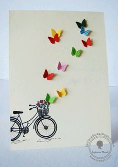 Birthday gifts diy cards 70 New ideas Tarjetas Diy, Bicycle Cards, Bday Cards, Handmade Birthday Cards, Diy Birthday, Birthday Gifts, Butterfly Cards, Cute Cards, Creative Cards