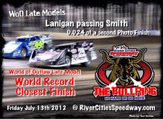 World of Outlaws Late Model World Record closest race car race finish - River Cities Speedway The Bullring in Grand Forks, ND