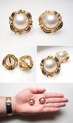Vintage Estate Mabe Pearl & Diamond Earrings Solid 18K Gold - EraGem.<32199.<3<3