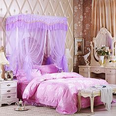 XHG Bedroom summer autumn high grade solid stainless steel bracket floor Royal Princess mosquito nets  pink  20220200 -- Check this awesome product by going to the link at the image.